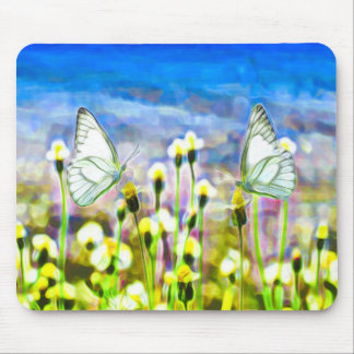 Two White Butterflies Yellow Flower Mouse Pad