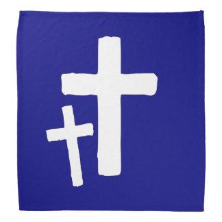 Two White Cross Symbols On Blue Bandana
