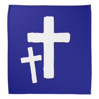 Two White Cross Symbols On Blue Do-rag