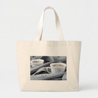 Two white cups of coffee wrapped in scarf large tote bag