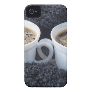 Two white cups with black coffee and foam iPhone 4 case