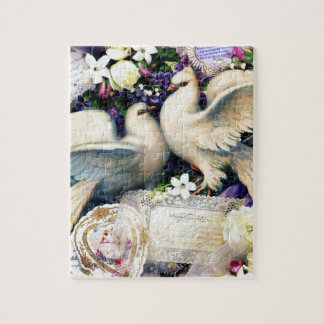 Two White Doves Birds Flowers Vintage Jigsaw Puzzle