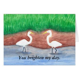 Two white egrets, birds brighten my day cards