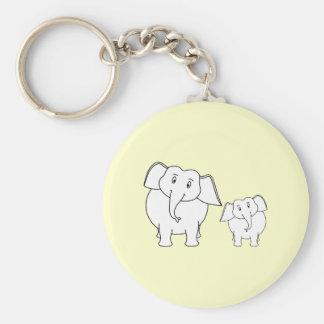 Two White Elephants on Cream Cartoon Keychain