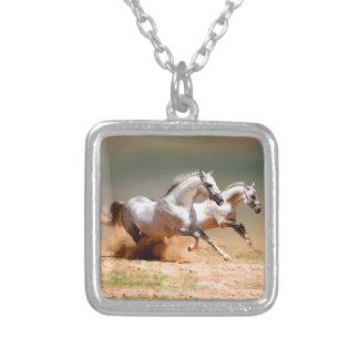 two white horses running square pendant necklace