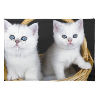 Two white kittens in basket on black background.JP Placemat