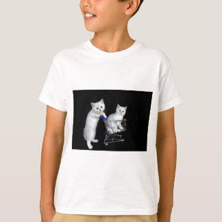 Two white kittens with shopping cart on black.JPG T-Shirt
