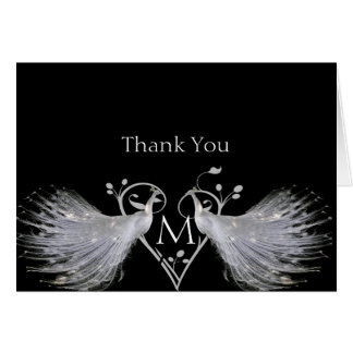 Two White Peacocks Heart Anniversary Thank You Note Card