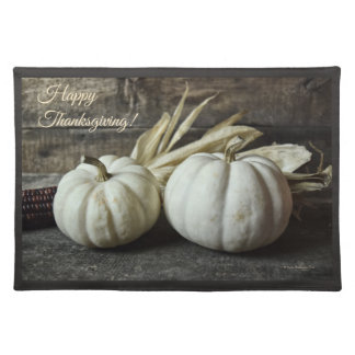Two White Pumpkins With Corn Placemat