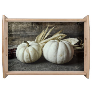 Two White Pumpkins With Corn Serving Tray
