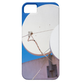 Two white satellite dishes on house wall iPhone 5 case
