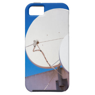 Two white satellite dishes on house wall iPhone 5 cover