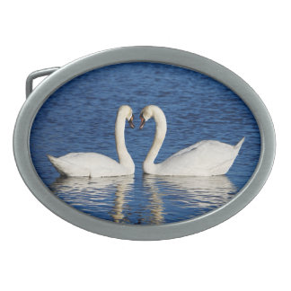 Two White Swans Form Heart Sign Belt Buckles