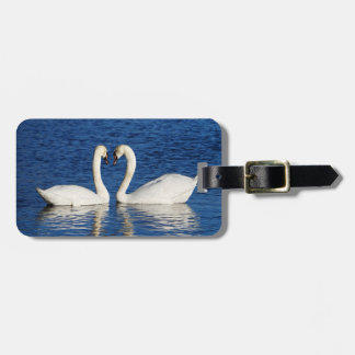 Two White Swans Form Heart Sign Luggage Tag
