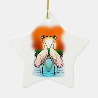 Two Whooping Cranes at Sunset Ceramic Ornament