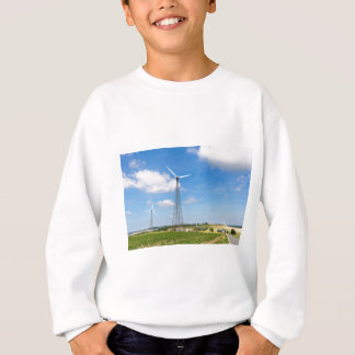 Two windmills in rural area with blue sky sweatshirt