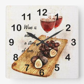 two wine glassesand fruit square wall clock
