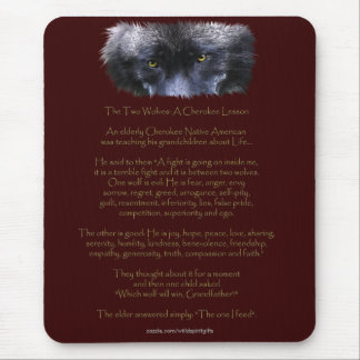 TWO WOLVES CHEROKEE TALE Art  Mousepad