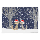 Two wolves in winter Christmas notecard