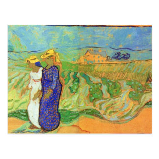 Two Women Crossing the Fields by Vincent van Gogh Postcard