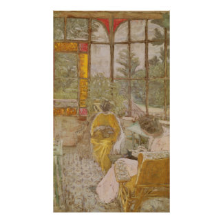 Two Women Embroidering on a Veranda Poster