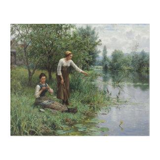 Two Women Fishing by Daniel Ridgway Knight Acrylic Wall Art