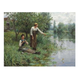 Two Women Fishing by Daniel Ridgway Knight Postcard