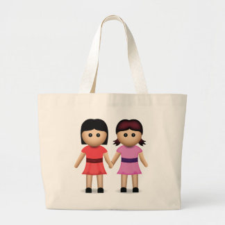 Two Women Holding Hands Emoji Tote Bags