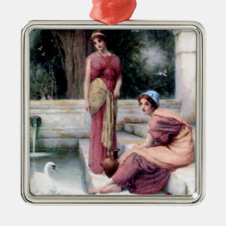 Two Women Swan painting Ornaments