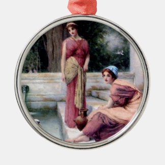 Two Women Swan painting Silver-Colored Round Decoration
