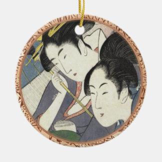 Two Women Under an Umbrella Kitagawa Utamaro art Round Ceramic Decoration