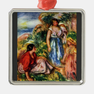 Two women with young girls in a landscape - Renoir Ornaments