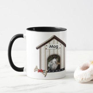 Two Wood Dog Houses Photos and Name template Mug