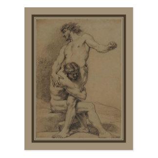 Two Wrestlers by de Platte-Montagne Postcard