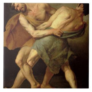 Two Wrestlers Ceramic Tile