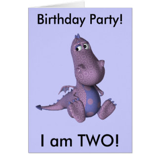 Two Years Old Birthday Invitation (purple dragon) Greeting Card