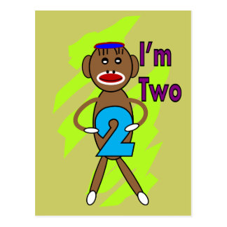 Two yeart Old Kids Birthday--Sock Monkey Design Postcard