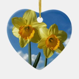 Two yellow Daffodils 2.2 Ceramic Heart Decoration