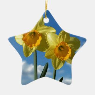 Two yellow Daffodils 2.2 Ceramic Star Decoration
