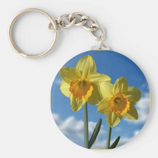 Two yellow Daffodils 2.2 Key Ring