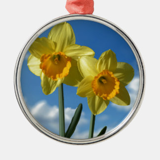 Two yellow Daffodils 2.2 Silver-Colored Round Decoration