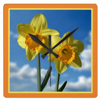 Two yellow Daffodils 2.2 Square Wall Clock