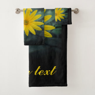 Two yellow flowers of Jerusalem artichoke. Bath Towel Set