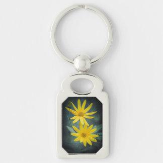 Two yellow flowers of Jerusalem artichoke Key Ring