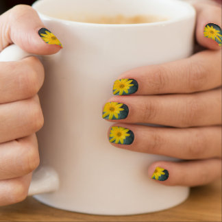 Two yellow flowers of Jerusalem artichoke Minx Nail Art