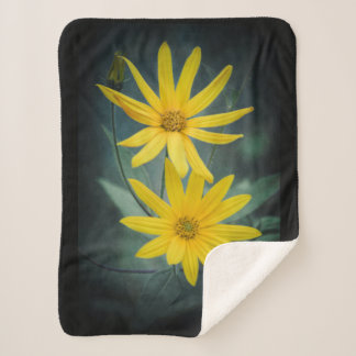 Two yellow flowers of Jerusalem artichoke Sherpa Blanket