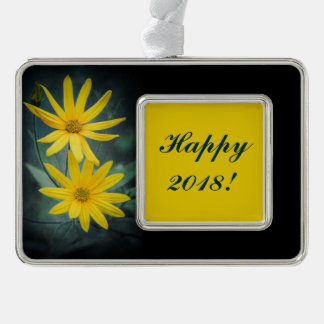 Two yellow flowers of Jerusalem artichoke Silver Plated Framed Ornament