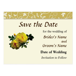 Two Yellow Roses in Sunshine Save the Date Postcard