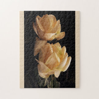 Two, yellow roses, puzzle