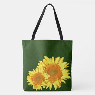 Two Yellow Sunflower Dark Hunter Green Tote Bag